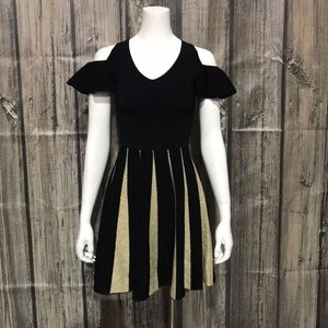 Ted Baker Black/Gold Pleated Elastic